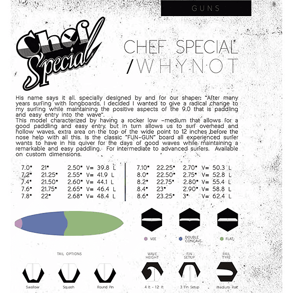 TABLA SURF CHEF SPECIAL WHY NOT ( 7´0