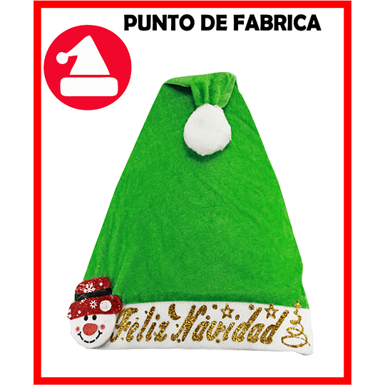 Gorros de Navidad Terciopelo Verde Marcado $ 4.800