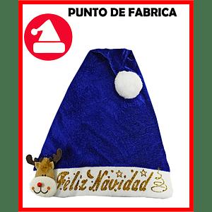 Gorros de Navidad Terciopelo Azul Marcado $4.800