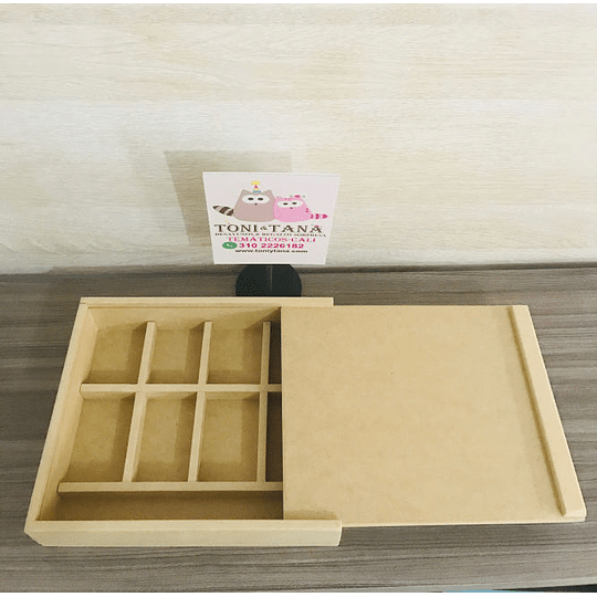 Caja de Madera Para Regalo Sorpresa con divisiones-mínimo 50 Unidades 35x25, x 8 alto - Image 1