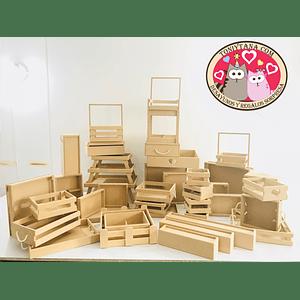 Cajas y Bandejas en Madera Pino Mdf y Natural Punto de Fabrica--Se venden mínimo 25 unidades