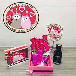 Rosas con trufas de chocolate en Caja de Madera Sorpresa