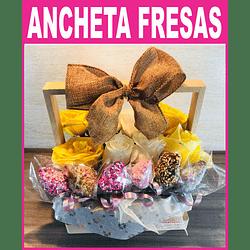 Flores con fresas Cubiertas de Chocolate en Caja de Madera-Pedido 2 días antes
