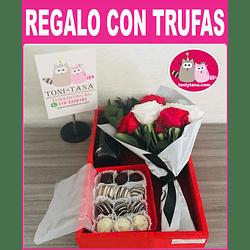 Flores Sorpresa de Amor o Amistad Con Trufas de Chocolate