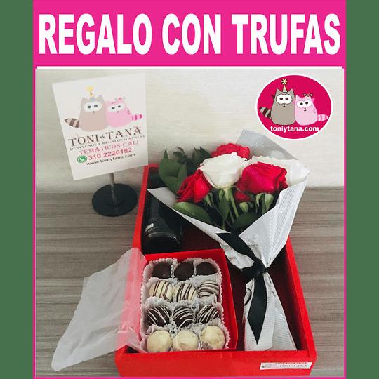 Flores Sorpresa de Amor o Amistad Con Trufas de Chocolate - Image 1