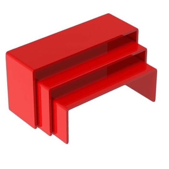 Soporte de exhibición 3 pisos color Rojo