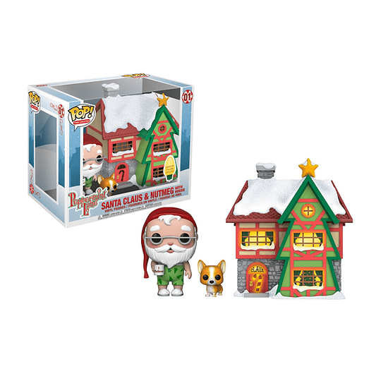 FUNKO POP! Town Christmas - Peppermint Lane: Santa Claus & Nutmeg with House Lights Up!