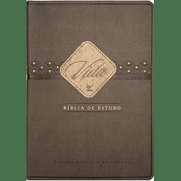 Bíblia de estudo Vida Capa bicolor castanho e café e beiras douradas