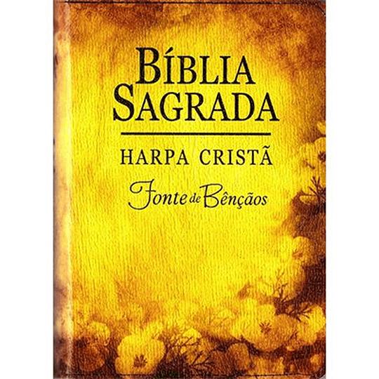Bíblia C/ Harpa e Zíper Fonte de Bênçãos - Flores Amarela