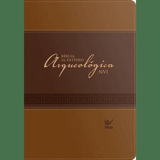 Bíblia de Estudo Arqueológica NVI Capa luxo marrom claro e escuro