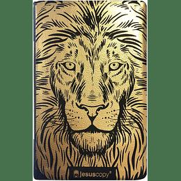 """Bíblia Sagrada Jesuscopy capa flexível """"leão dourado""""."""