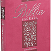 Bíblia Sagrada com letra gigante | Capa cor rosa floral com beiras floridas