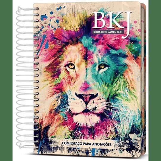 Bíblia King James 1611 Anote Espiral Lion Colors
