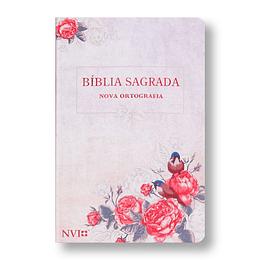 BÍBLIA NVI LETRA GIGANTE - SEMI LUXO ROSAS E PÁSSAROS