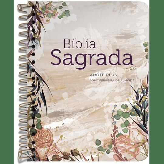 Bíblia Sagrada Anote Plus Espiral Flor Marmorizada