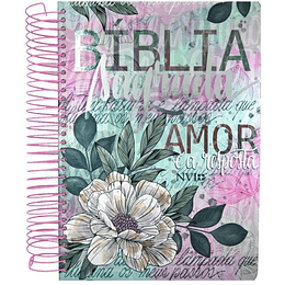 "Bíblia Sagrada Anote Capa dura espiral ""Flor artística"""