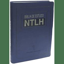 Bíblia de estudo NTLH Capa flexível na cor azul e beiras prateadas