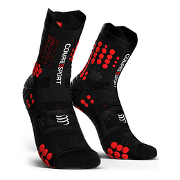 Calcetín Trail v3 Compressport - Negro/Rojo