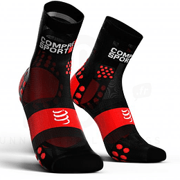 Calcetín Run High v3 Ultralight Compressport Negro/Rojo