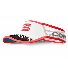 Visera Ultralight V2 Compressport  Blanco/Rojo