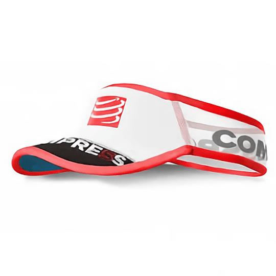 Visera Ultralight V2 Compressport  Blanco/Rojo