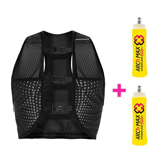 Chaleco de Hidratación 1.5L Unisex Black + 2 Hydraflask 500ml