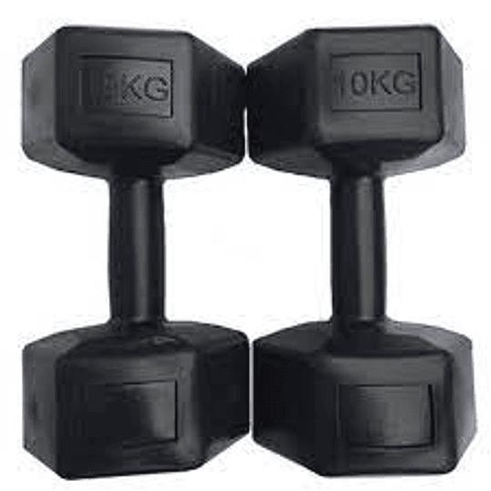 Mancuernas Plásticas Hexagonales 10 kg - Par