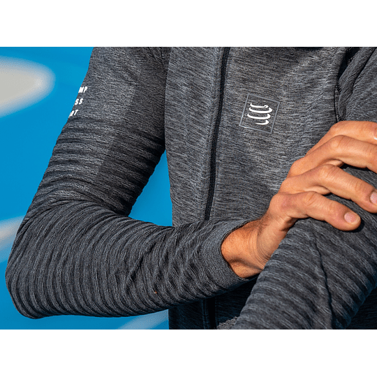 Running Seamless Zip Sweatshirt Grey Melange - Compressport