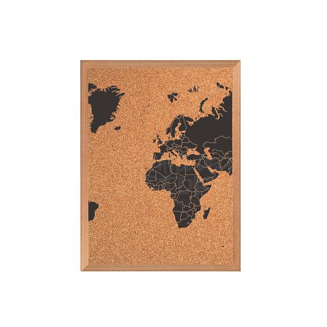 Mapa mundi triple negro con corcho a la vista con países segmentados marco Mañio