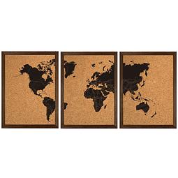 Mapa mundi triple negro con corcho a la vista con países segmentados marco Nogal