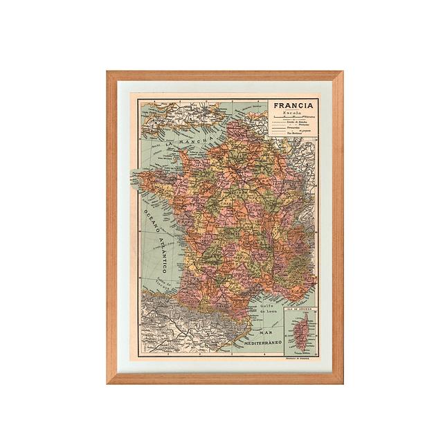 Mapa político Francia pineable