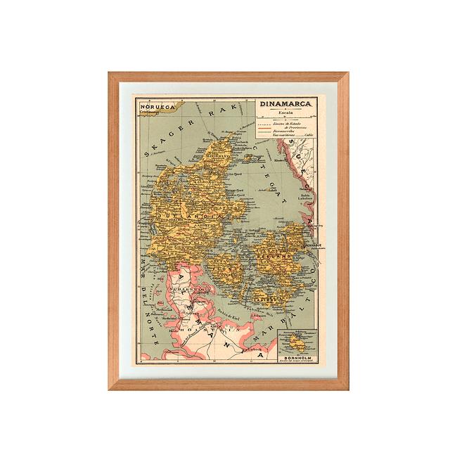 Mapa pineable Dinamarca fines siglo XIX