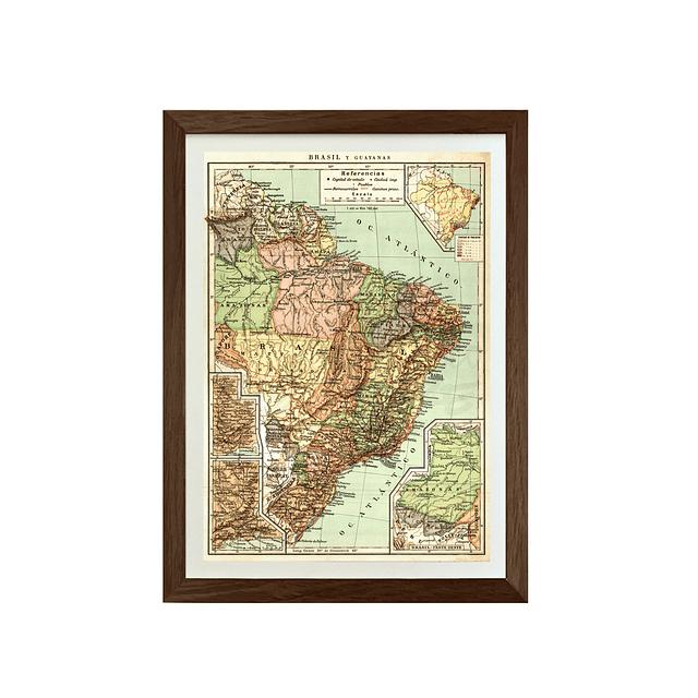 Mapa político Brasil y Guyanas pineable