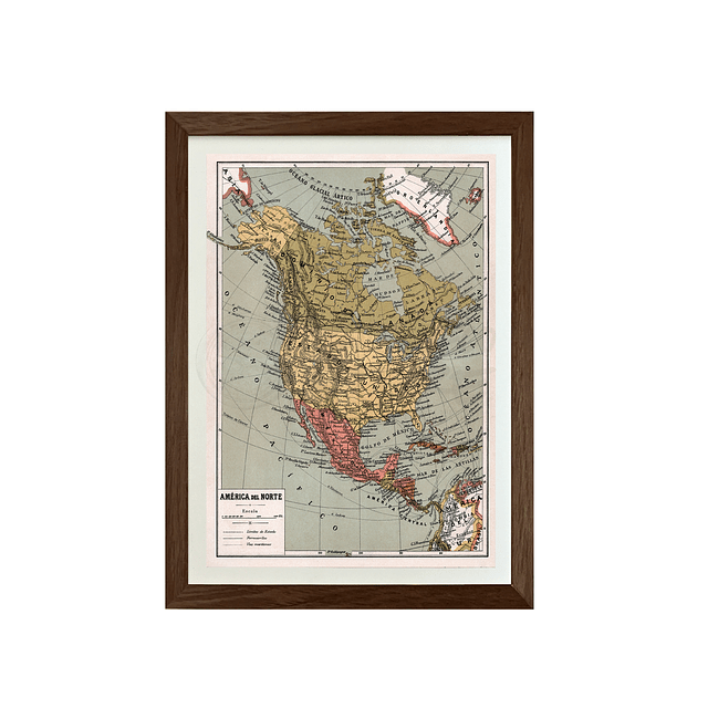 Mapa pineable America del norte fines siglo XIX