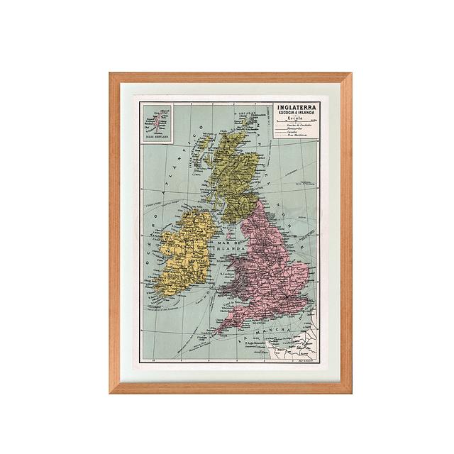 Mapa pineable Inglaterra, Escocia e Irlanda fines siglo XIX
