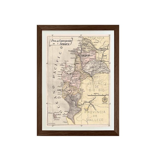 Mapa pineable antigua provincia de Concepción y Arauco