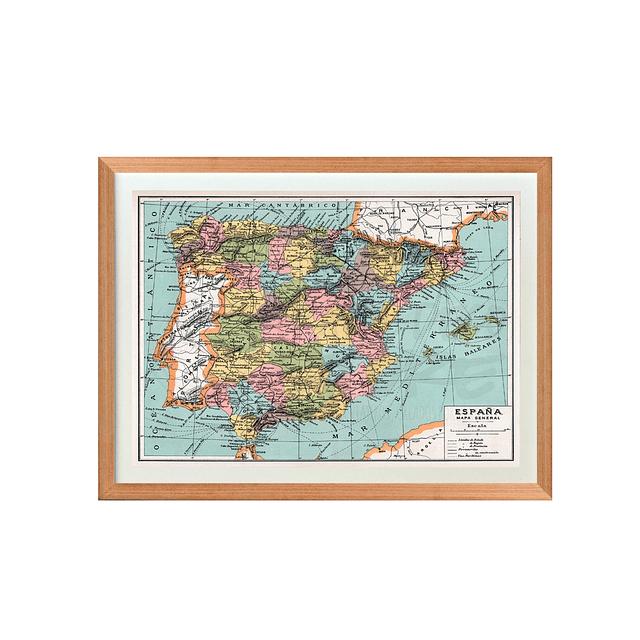 Mapa España fines siglo XIX pineable