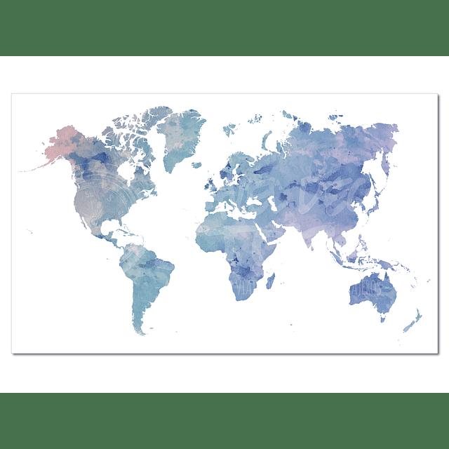 Mapa Mundi Acuarela Ilustrado 80x60 cms