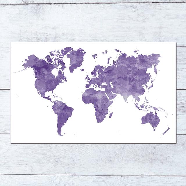 Print Mapa Mundi Acuarela Ilustrado para enmarcar 80x60 cms