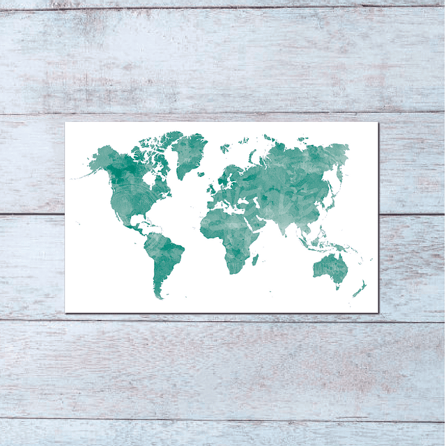Print Mapa Mundi Acuarela Ilustrado para enmarcar 40x30 cms
