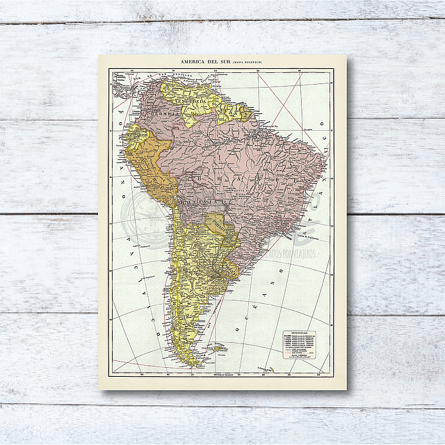 Print para enmarcar: mapa político América del Sur