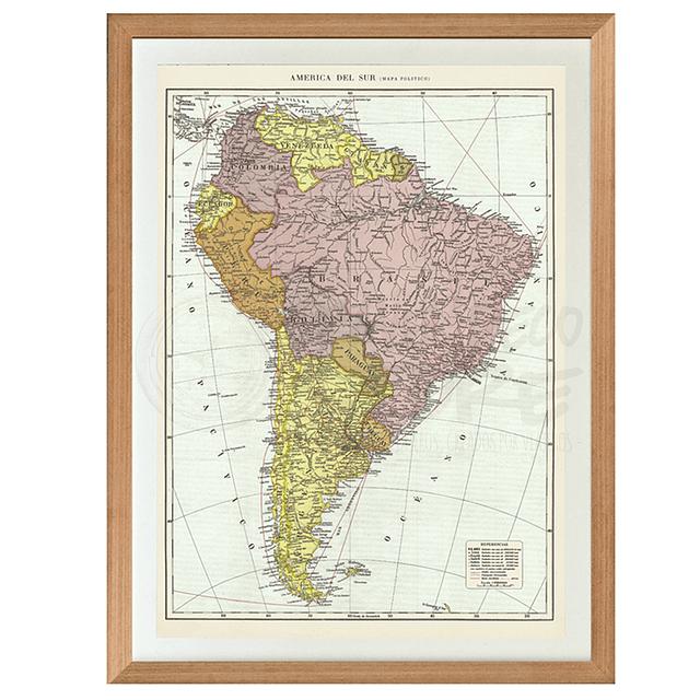 Mapa político América del Sur pineable XL marco Mañio