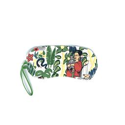"Kit antifaz tela ""Frida khalo"" fondo blanco elastico verde"