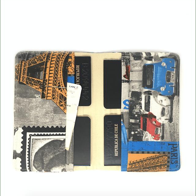 "Porta pasaporte familiar tela ""Paris, je t' aime"""