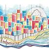 Porta pasaporte + bitacora coleccion telas ilustradas Chilenas con SBradanovic: Valparaiso