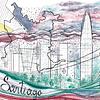Porta pasaporte + bitacora coleccion telas ilustradas Chilenas con SBradanovic: Santiago
