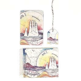 Porta pasaporte + bitacora coleccion telas ilustradas Chilenas con SBradanovic: Antofagasta