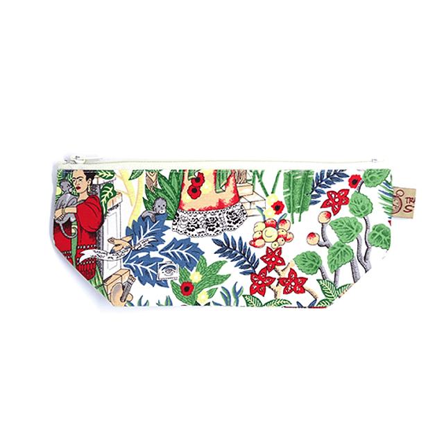 """Estuche guarda-todo XL tela """"Frida Kahlo"""" fondo blanco cierre blanco"""