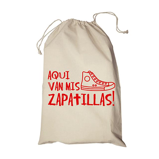 """Bolsa/saco frase """"aqui van mis zapatillas"""" texto rojo"""