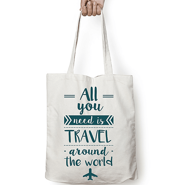 "Totebag frase ""all you need is travel around the world"" texto verde esmeralda"
